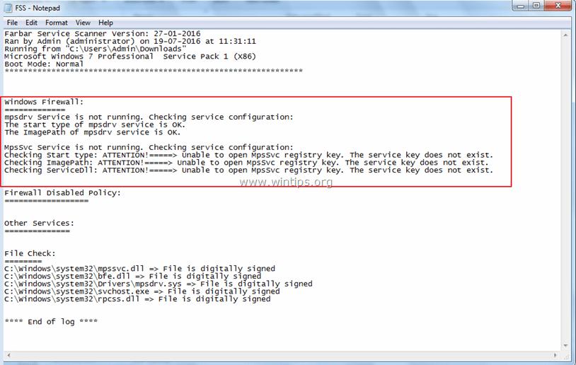 Windows Firewall Service Missing Registry