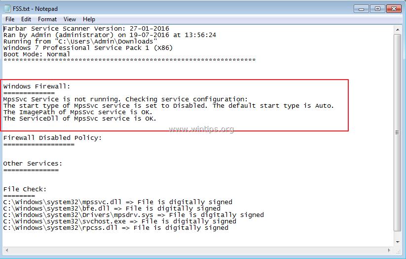 Windows Firewall Service Disabled