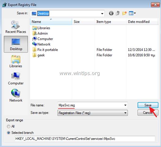 MpsSvc reg key