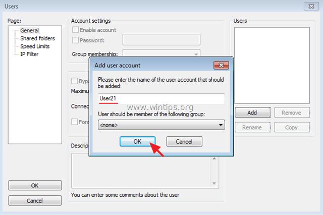 add filezilla server user