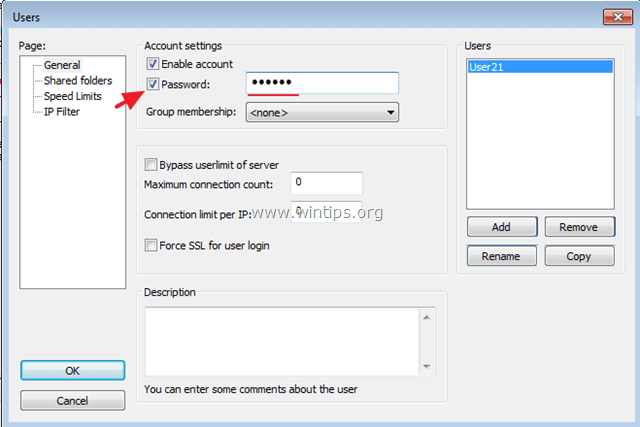 assing password to ftp user