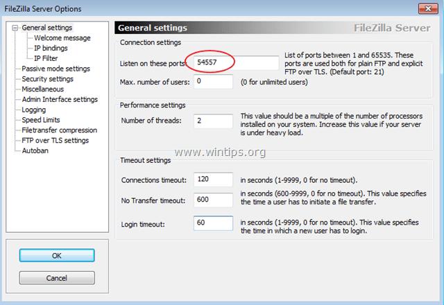 secure filezilla server port