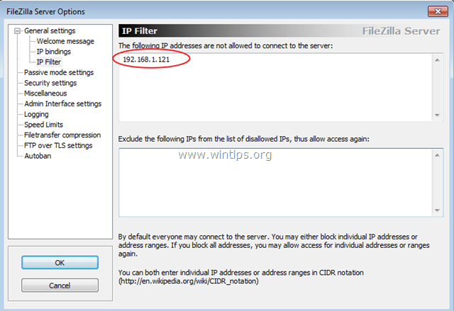 secure filezilla server ip filter