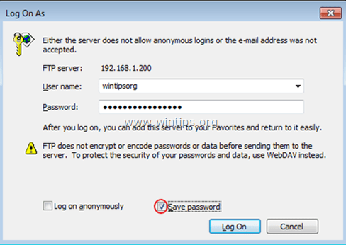 ftp login windows explorer