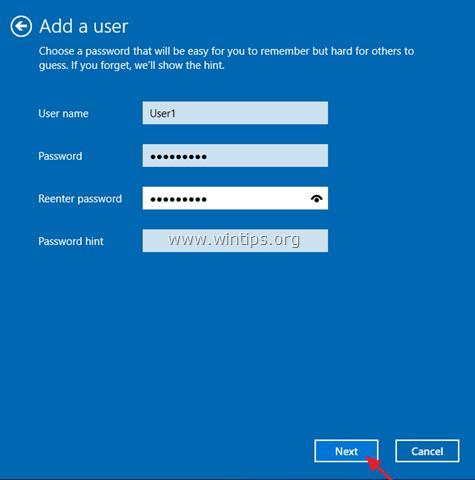 cannot add a user windows 10