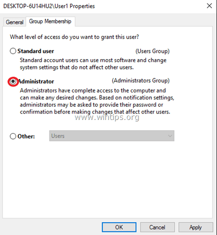 set user as administrator