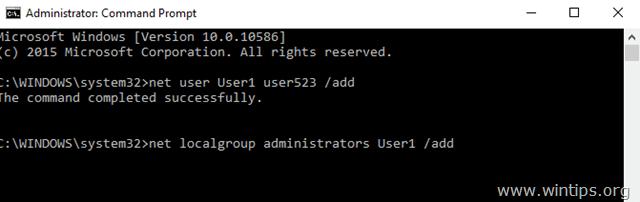 add new account command prompt