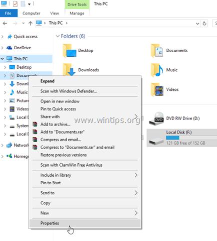 folder location change