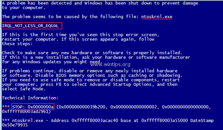 read blue screen of death