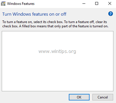 Windows Features list is Blank