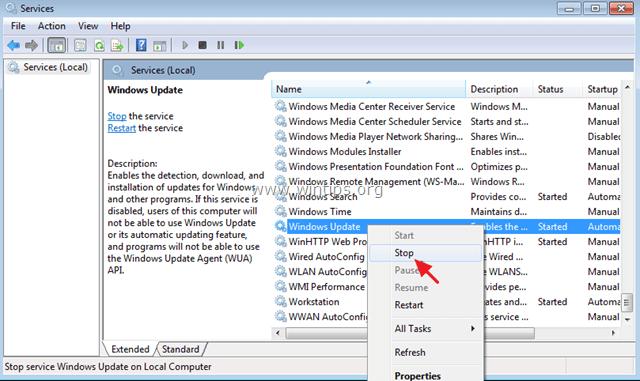 windows update service stop