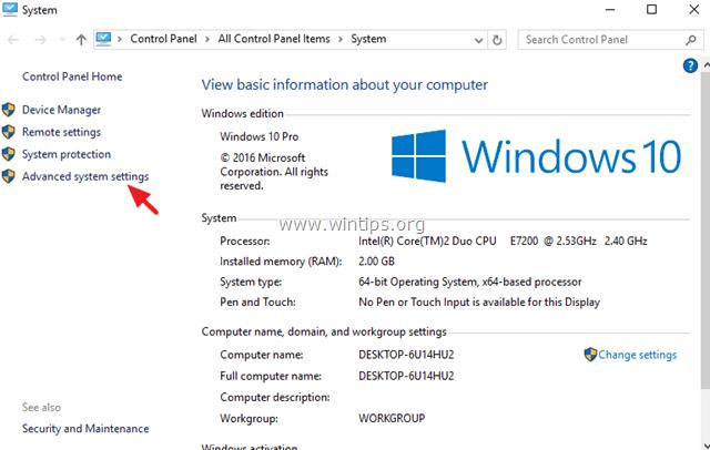 change advanced settings windows