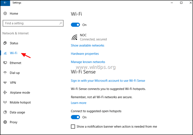 wireless settings windows 10
