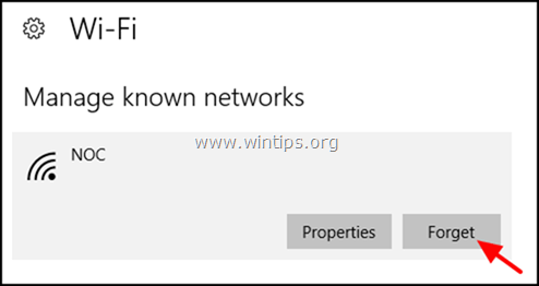 forget wireless network windows 10