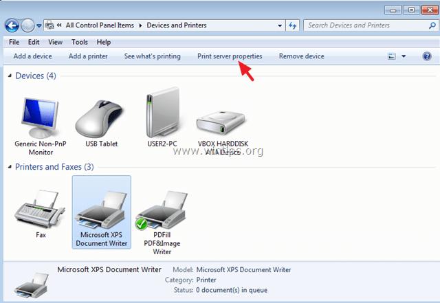 print server properties