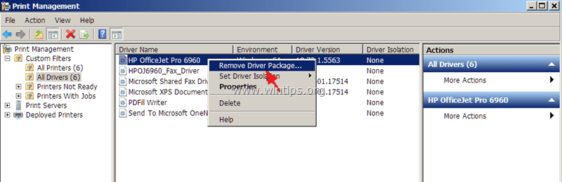 remove printer driver package