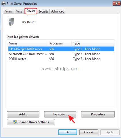 delete printer driver