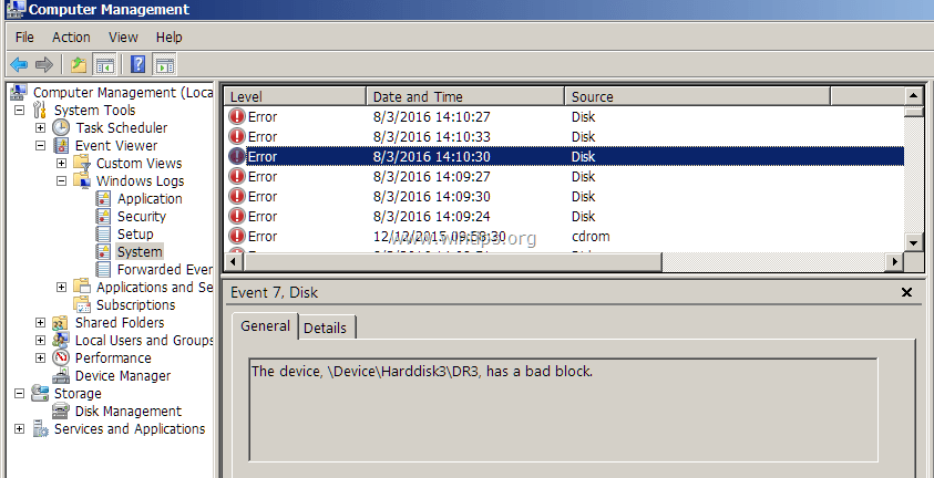 Fix: Event 7 Disk has a bad block at DeviceHarddisk#DR
