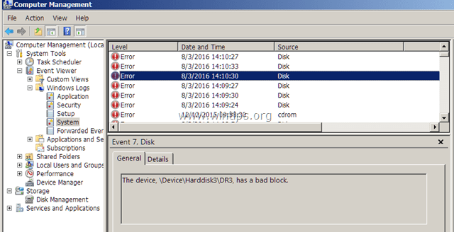 Event 7 Disk has a bad block