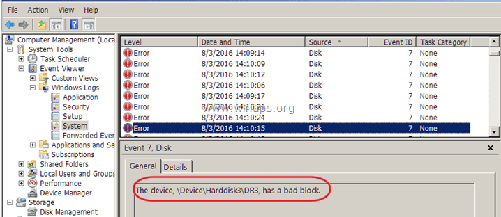 \Device\Harddisk1\DR1, has a bad block