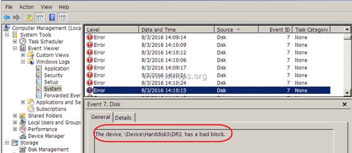 \Device\Harddisk1\DR1, has a bad block