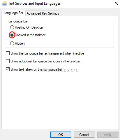 enable language bar control panel
