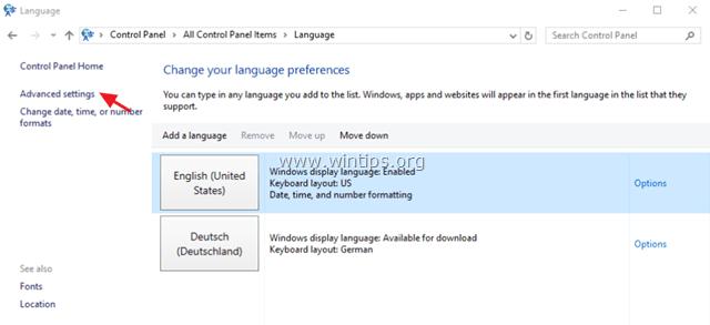 language bar advanced settings