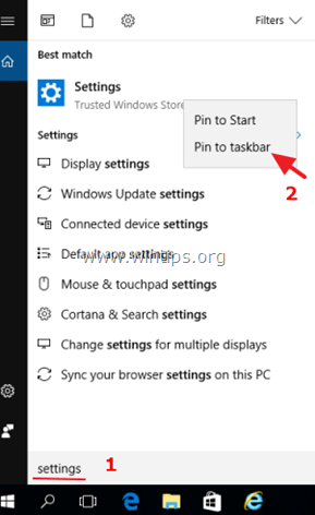 Settings icon Windows 10