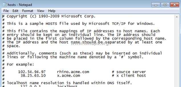 Reset HOSTS file