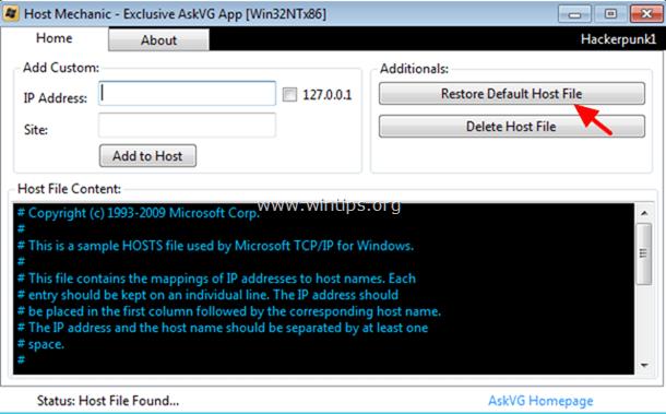 restore default host file