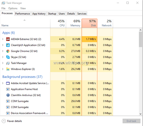 Disk Usage 100% windows 10