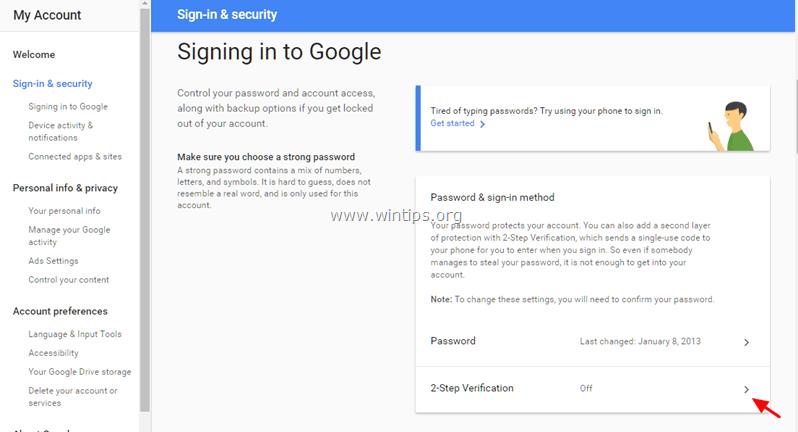 disable 2 step verification gmail