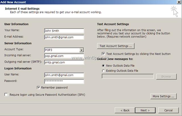 pop3 account setup gmail
