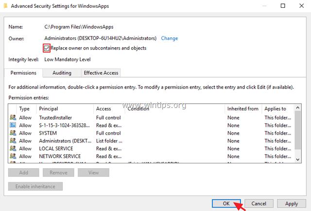 WindowsApps full permissions