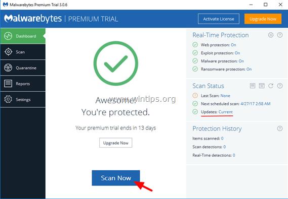 scan Malwarebytes 3.0 free