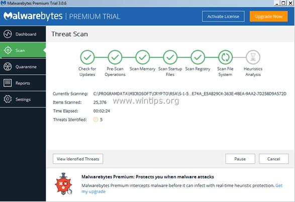 scan Malwarebytes 3.0 premium