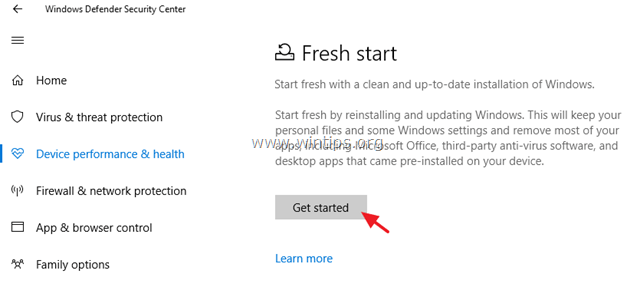 fresh start windows defender