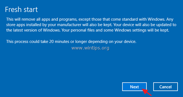 Windows 10 Fresh Start