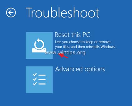 Refresh Windows 10 - Recovery Mode