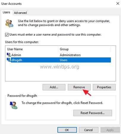 remove uknown account windows