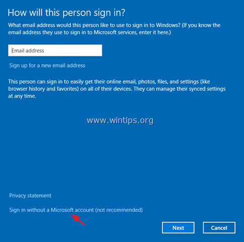 add local account windows 10
