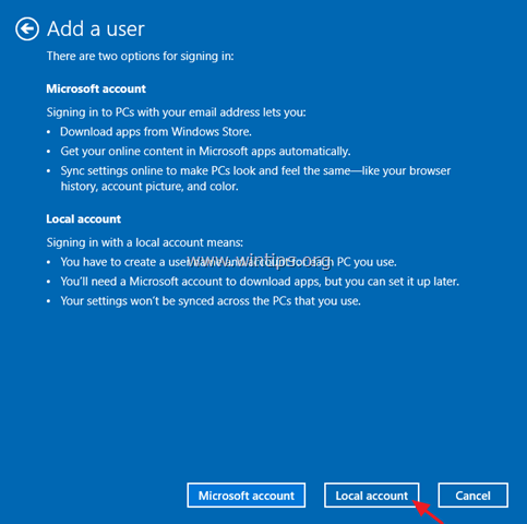 add local user windows 10