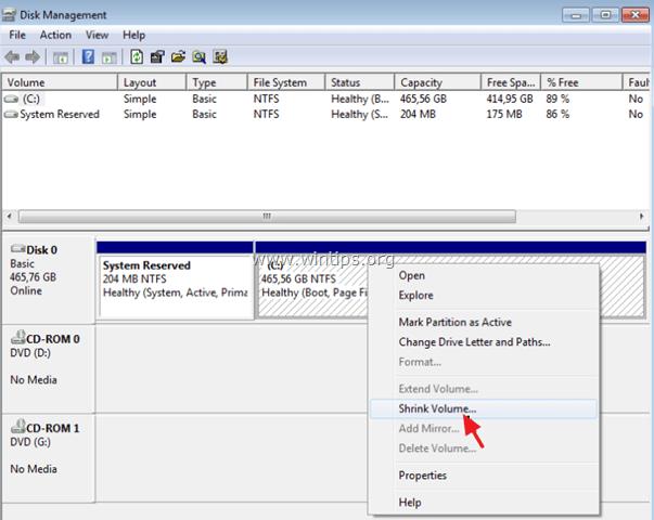 decreae partition size