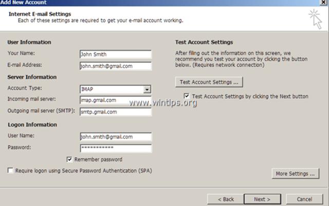 gmail imap setup