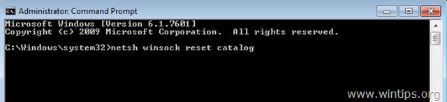 reset winsock catalog