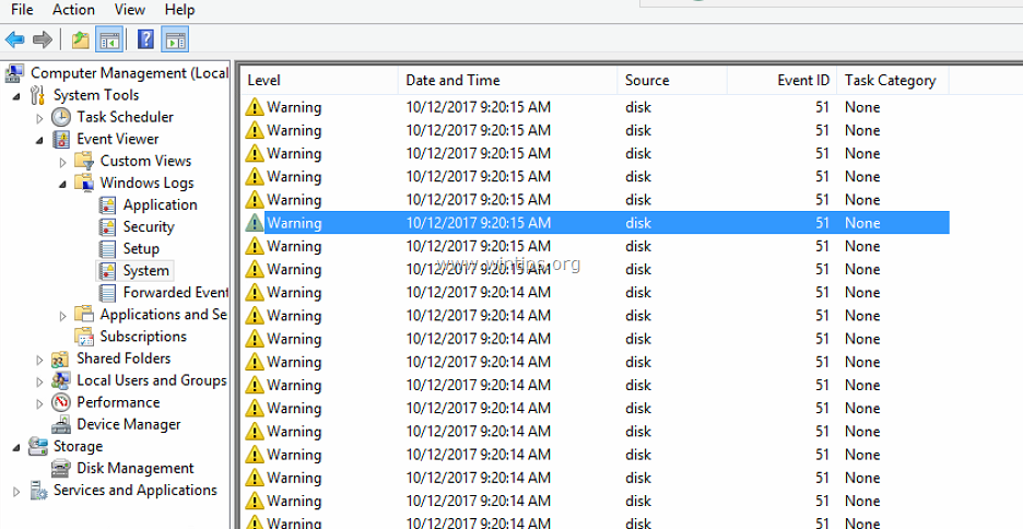 FIX: Warning Disk Event 51 An error detected on device during paging