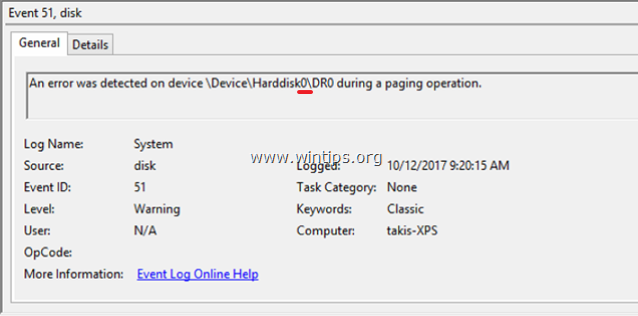 Disk Event 51 An error detected on device Harddisk during a paging operation