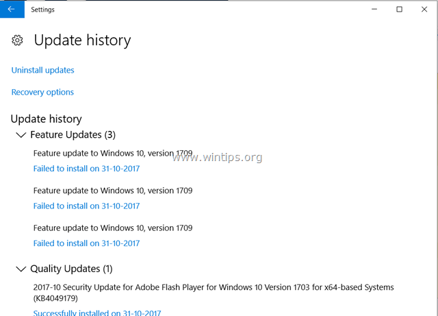 FIX: Windows 10 Update 1709 fails to install (Solved) - wintips org