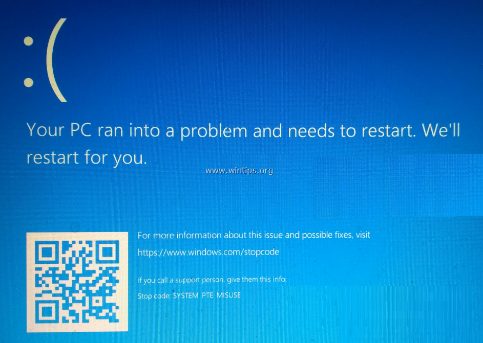 FIX: SYSTEM PTE MISUSE Blue Screen Error on Windows 10 Installation