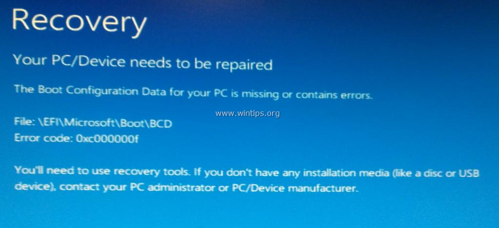 FIX Boot Configuration Data Missing BSOD Error 0x000000f on